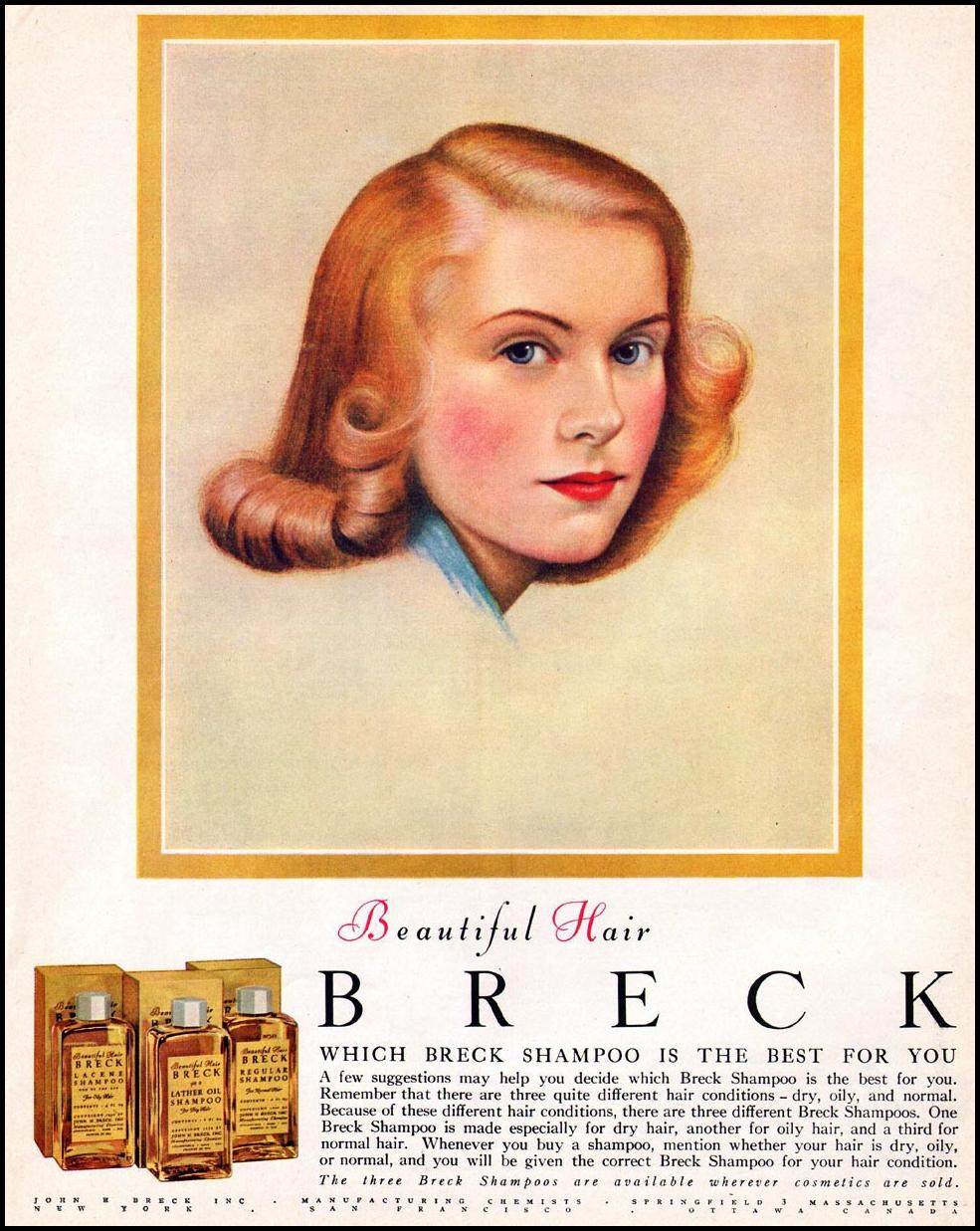 BRECK SHAMPOO LADIES' HOME JOURNAL 07/01/1949 p. 133
