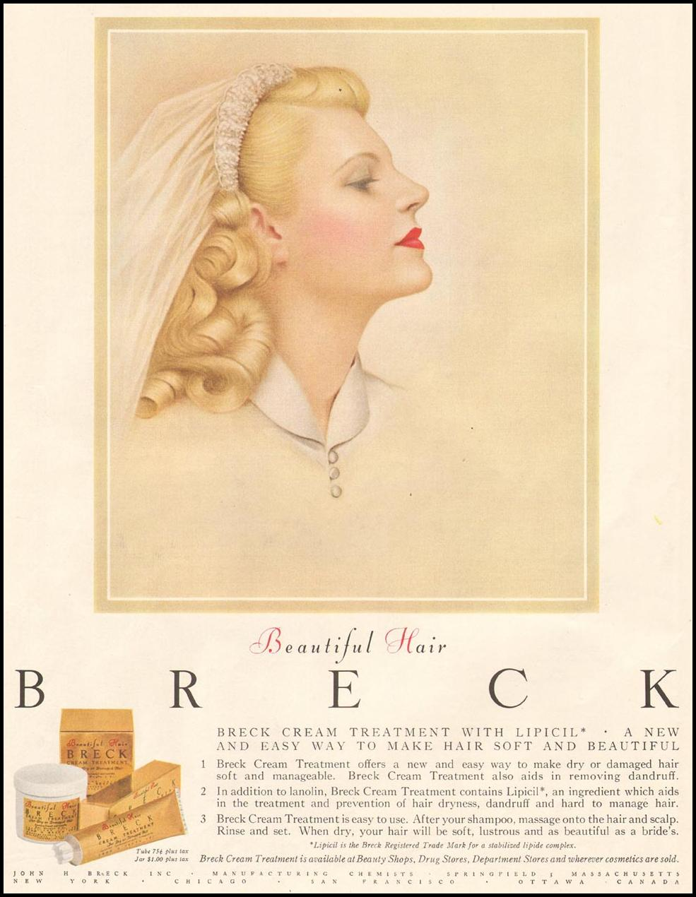 BRECK SHAMPOO LADIES' HOME JOURNAL 07/01/1954 p. 24