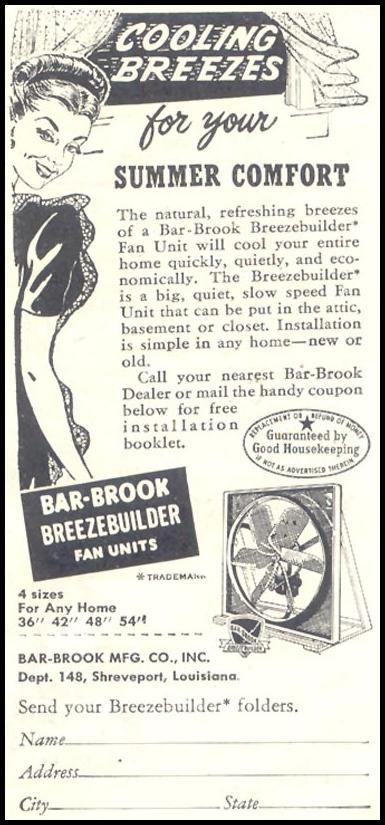 BAR-BROOK BREEZEBUILDER FAN UNITS GOOD HOUSEKEEPING 07/01/1948 p. 125