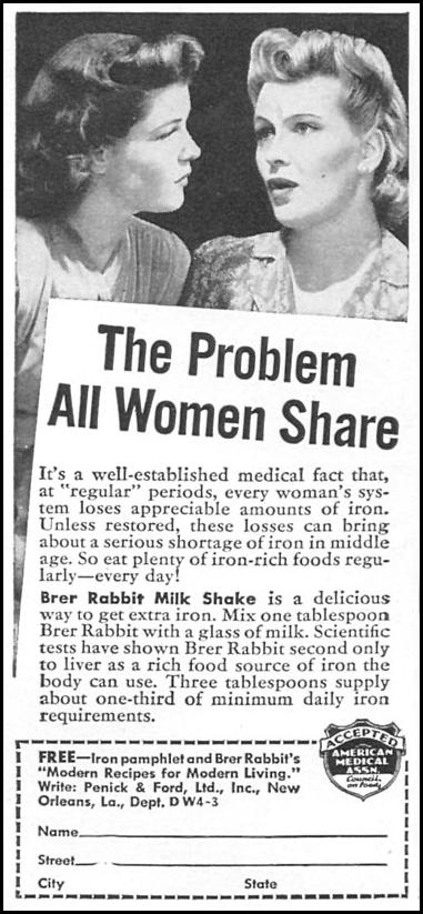 BRER RABBIT MOLASSES WOMAN'S DAY 04/01/1943 p. 74