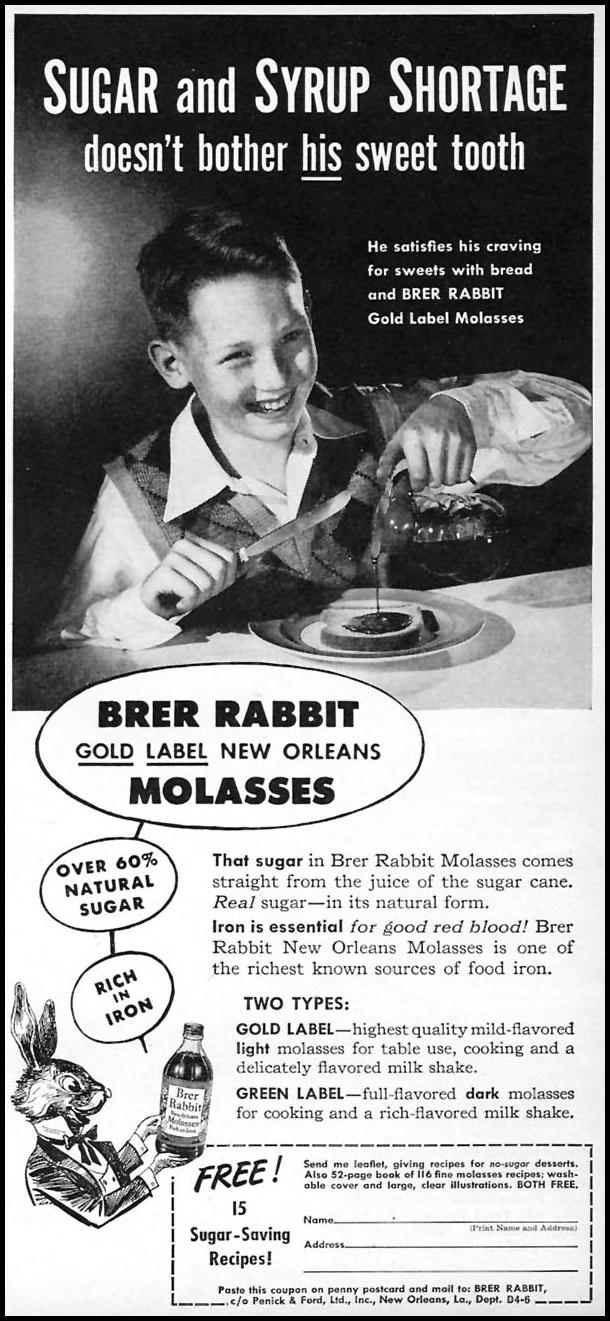 BRER RABBIT MOLASSES WOMAN'S DAY 04/01/1946 p. 71
