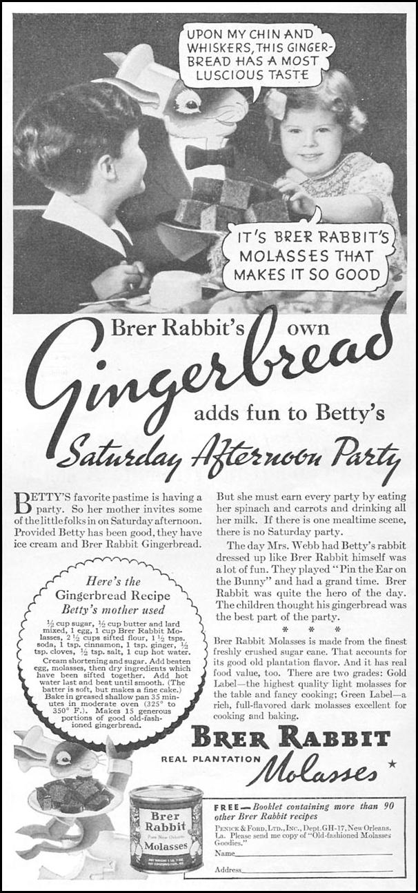 BRER RABBIT REAL PLANTATION MOLASSES GOOD HOUSEKEEPING 12/01/1934 p. 211