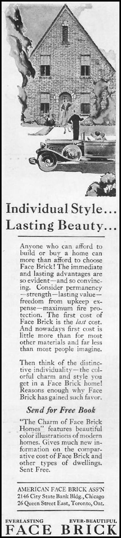 FACE BRICK BETTER HOMES AND GARDENS 10/01/1930 p. 82