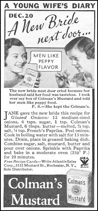 COLMAN'S MUSTARD GOOD HOUSEKEEPING 12/01/1933 p. 186
