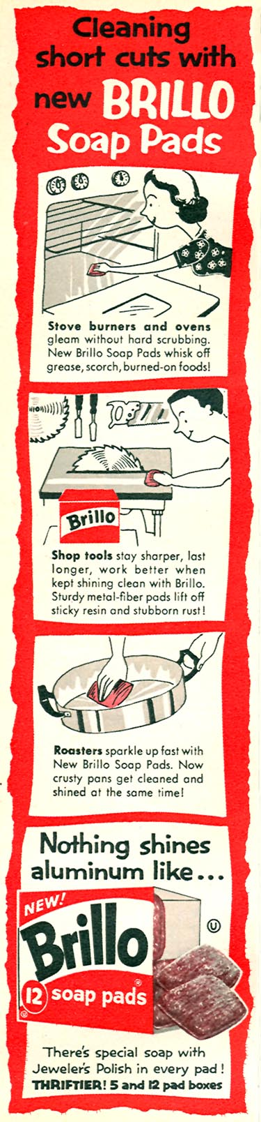 BRILLO SOAP PADS FAMILY CIRCLE 11/01/1957 p. 68
