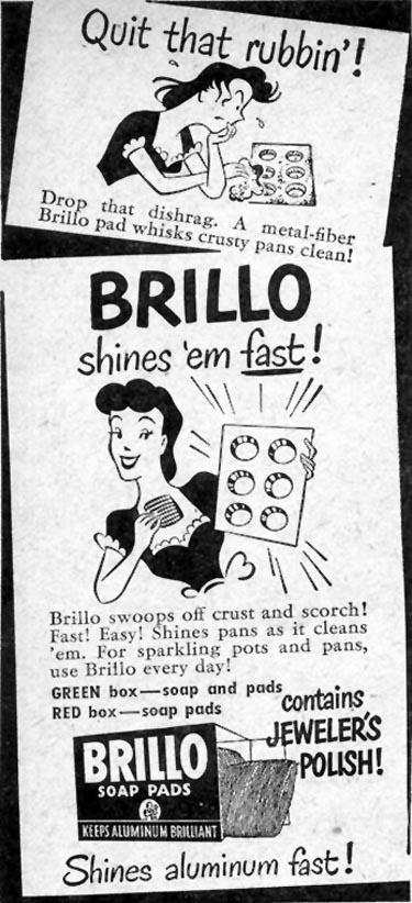 BRILLO SOAP PADS WOMAN'S DAY 03/01/1948 p. 122