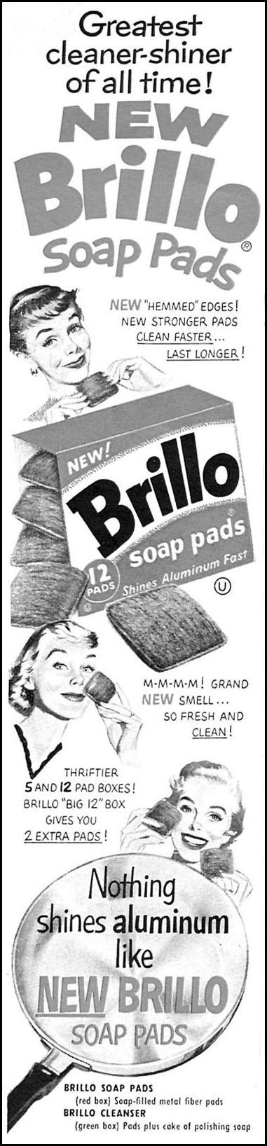 BRILLO SOAP PADS WOMAN'S DAY 04/01/1956 p. 106