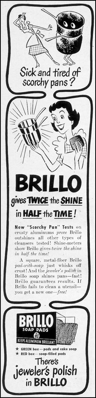 BRILLO SOAP PADS WOMAN'S DAY 05/01/1950 p. 80
