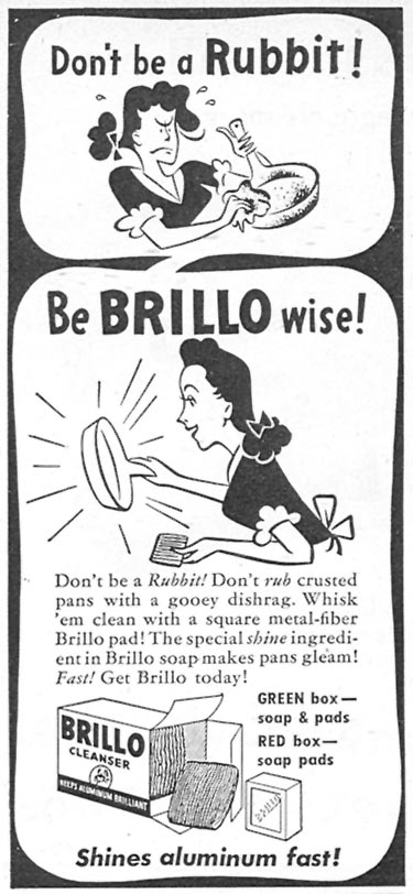BRILLO SOAP PADS WOMAN'S DAY 07/01/1946 p. 74