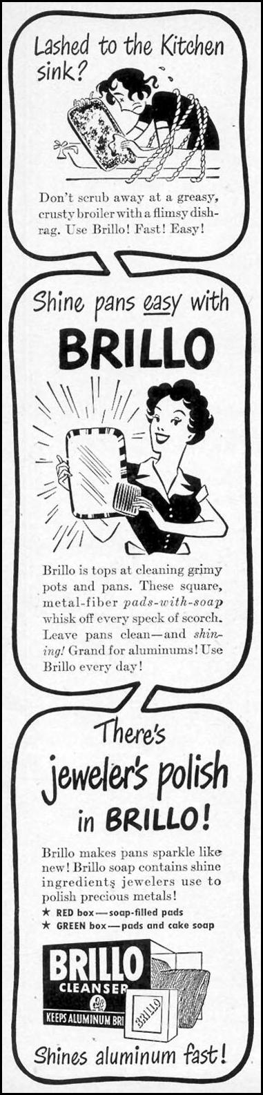 BRILLO SOAP PADS WOMAN'S DAY 10/01/1948 p. 22