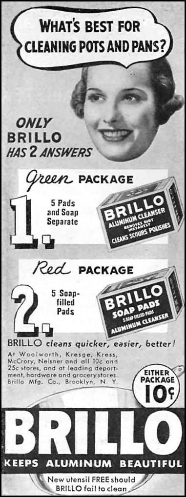 BRILLO SOAP PADS GOOD HOUSEKEEPING 04/01/1936 p. 232
