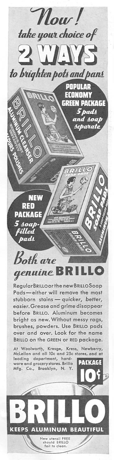BRILLO SOAP PADS GOOD HOUSEKEEPING 06/01/1935 p. 196