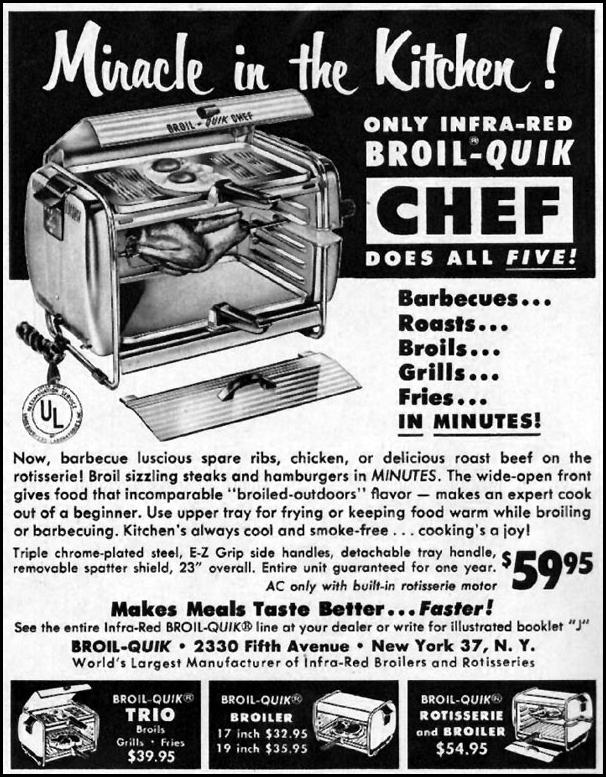 INFRA-RED BROIL-QUIK CHEF WOMAN'S HOME COMPANION 12/01/1952 p. 96