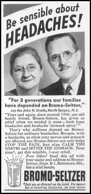 BROMO-SELTZER WOMAN'S DAY 04/01/1941 p. 73