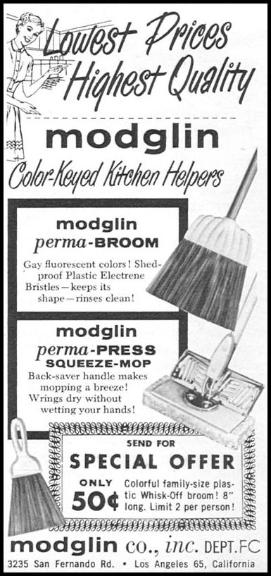 MODGLIN COLOR-KEYED KITCHEN HELPERS FAMILY CIRCLE 02/01/1956 p. 50