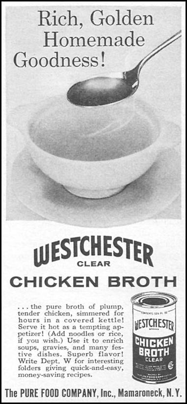 WESTCHESTER CLEAR CHICKEN BROTH WOMAN'S DAY 04/01/1956 p. 124