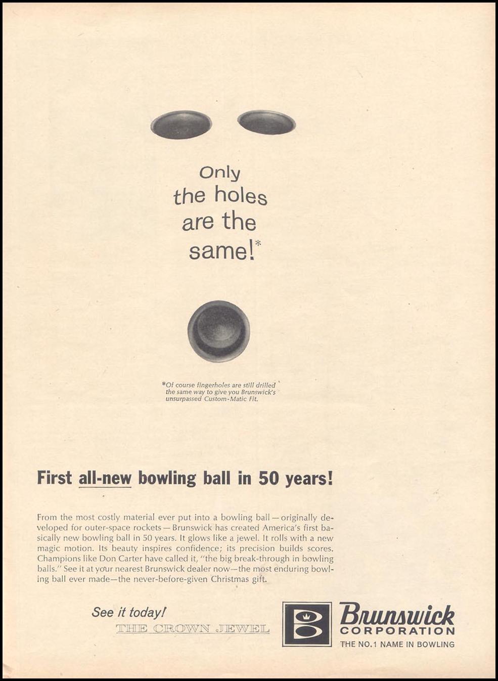 BRUNSWICK BOWLING BALLS TIME 11/17/1961 p. 75