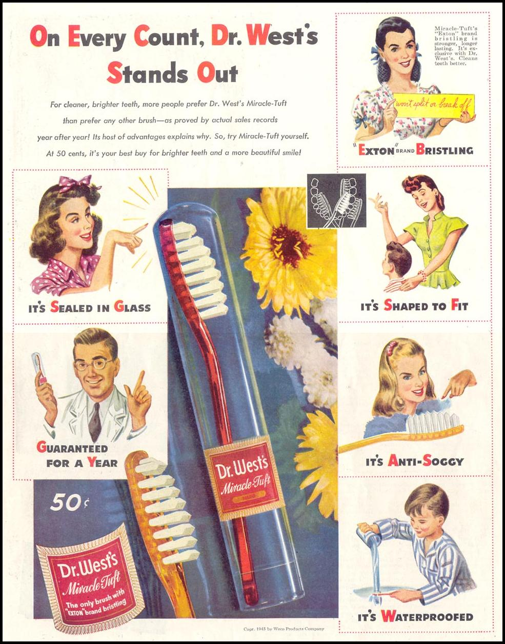 DR. WEST'S MIRACLE TUFT TOOTHBRUSH SATURDAY EVENING POST 10/06/1945 p. 42