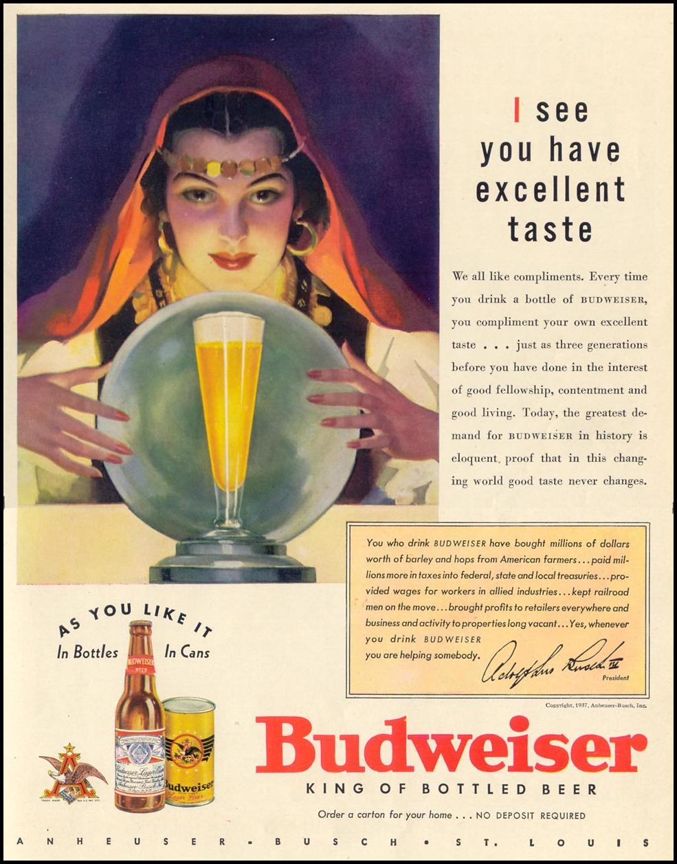 BUDWEISER BEER LIFE 09/27/1937