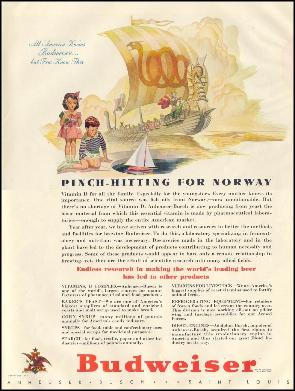 BUDWEISER BEER LIFE 11/30/1942