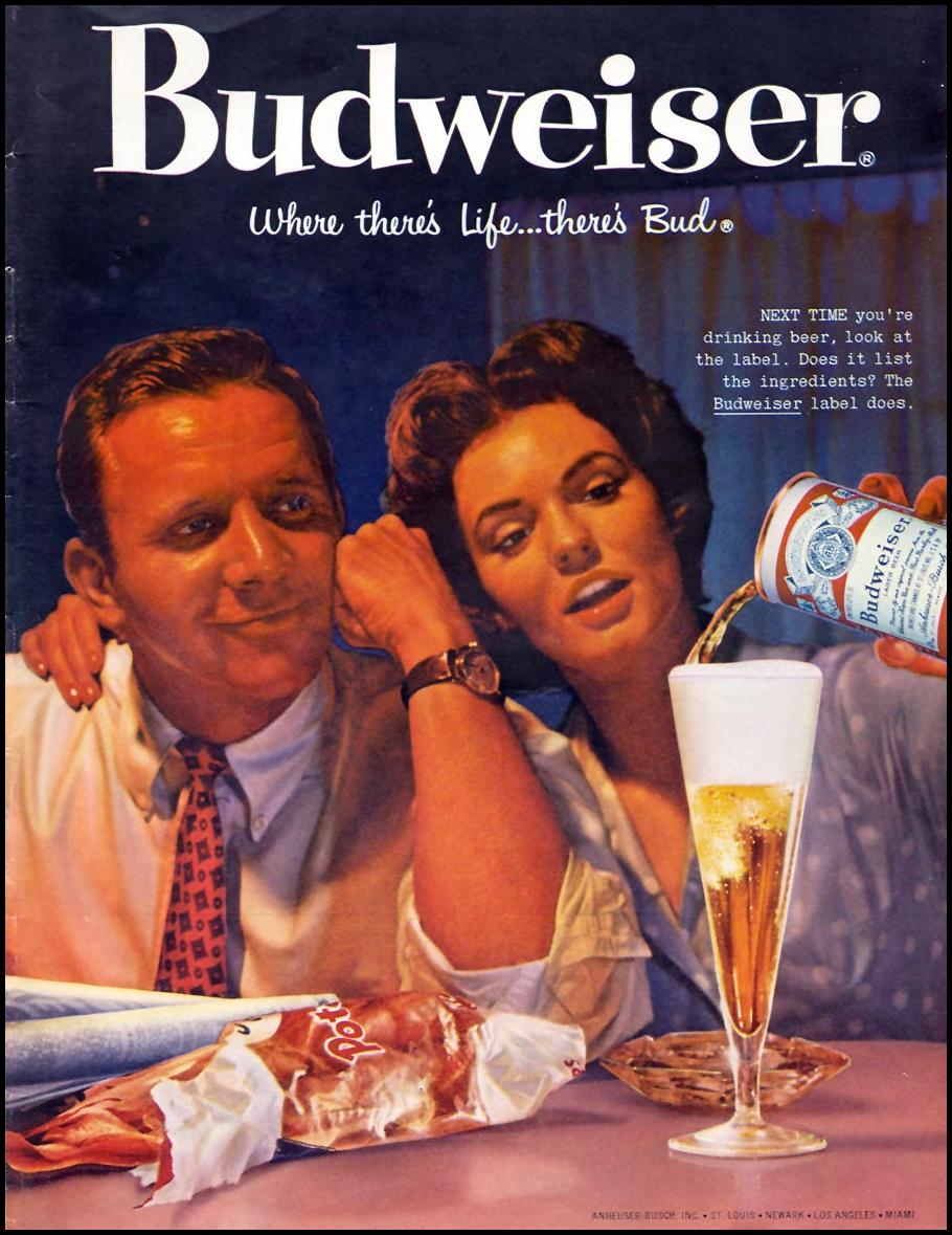 BUDWEISER BEER SPORTS ILLUSTRATED 01/12/1959 INSIDE BACK
