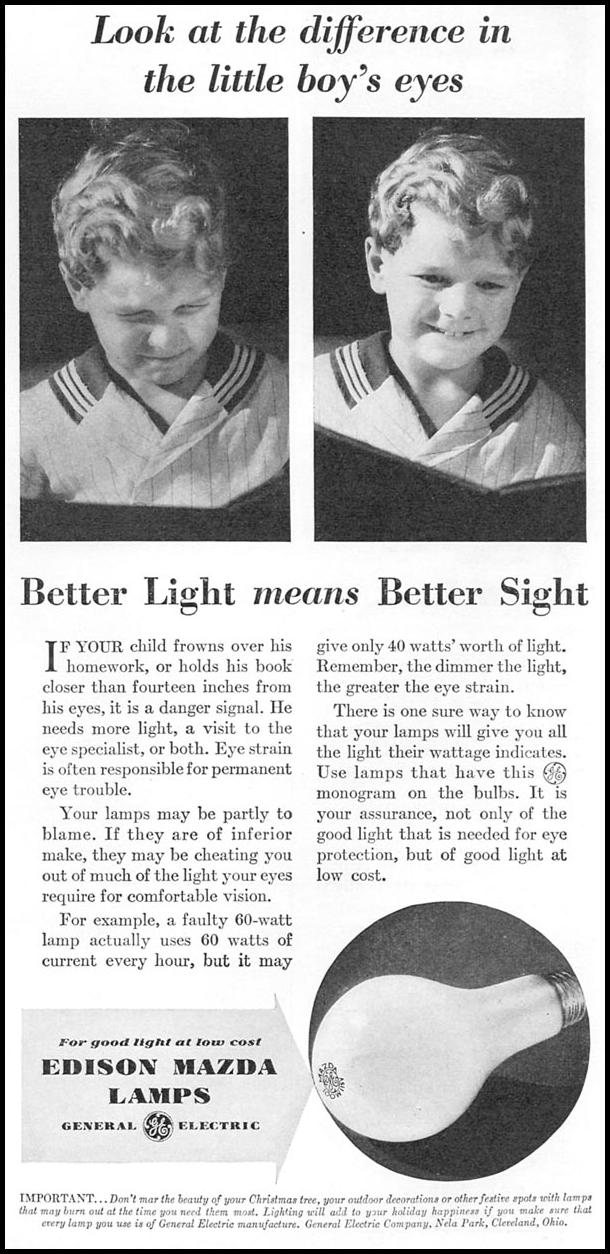 GENERAL ELECTRIC EDISON MAZDA LAMPS GOOD HOUSEKEEPING 12/01/1933 p. 206
