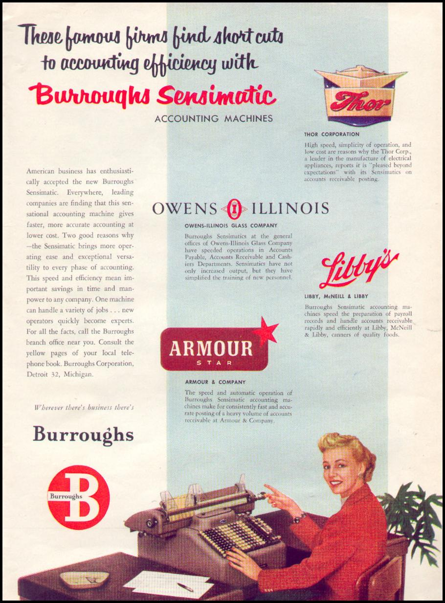 BURROUGHS SENSIMATIC ACCOUNTING MACHINES TIME 08/17/1953 p. 61