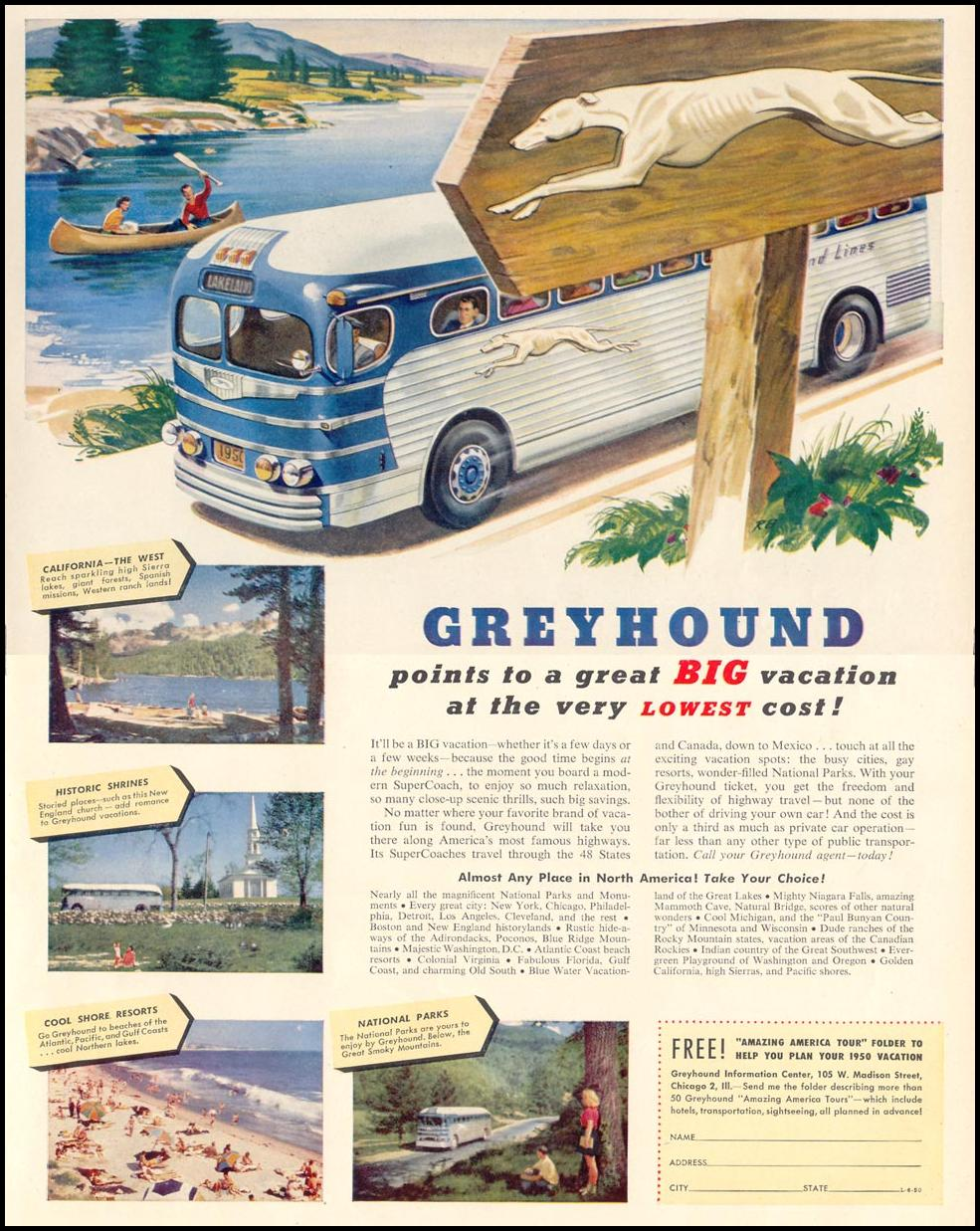 GREYHOUND BUS LINES LIFE 06/05/1950 p. 83