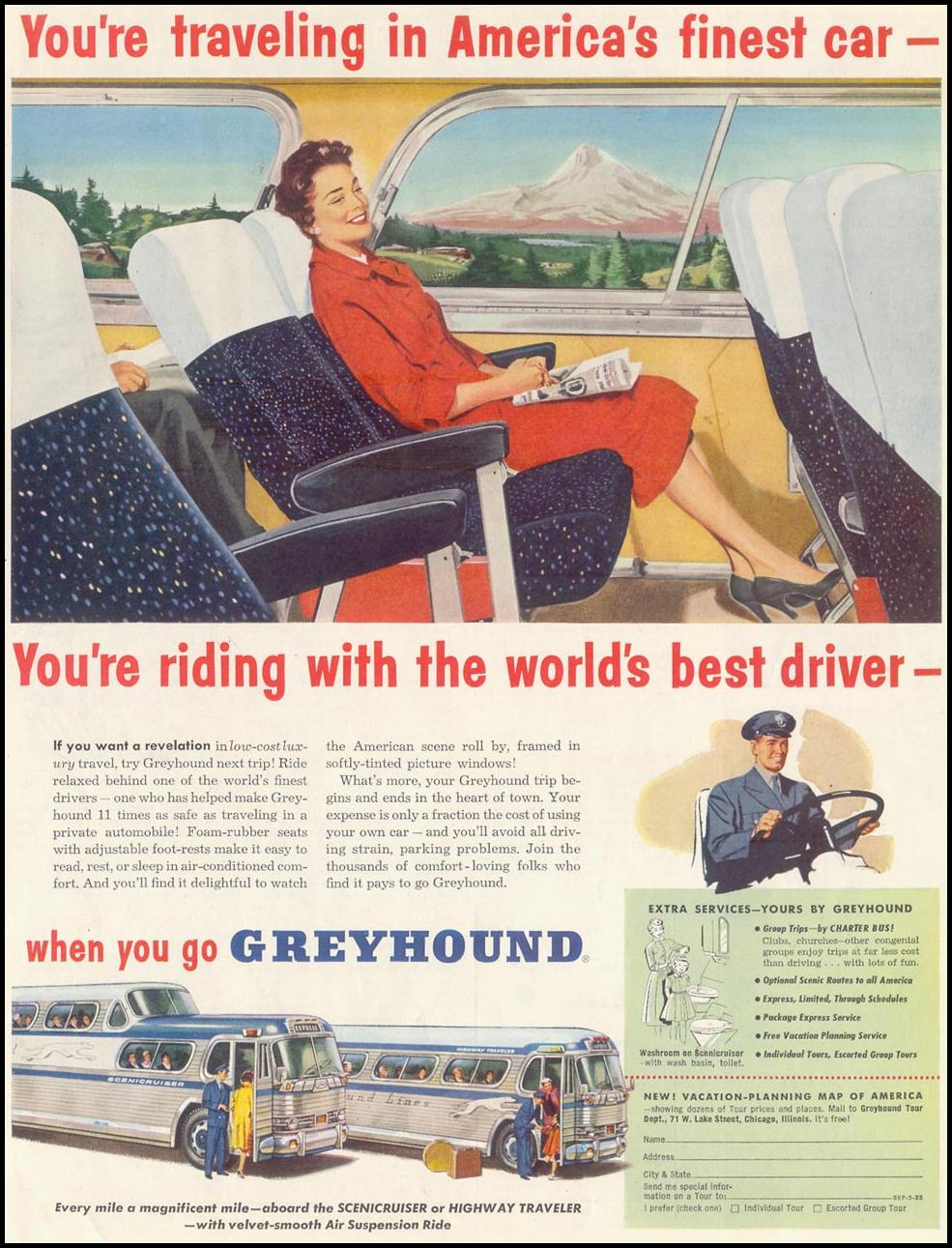 BUS TRAVEL SATURDAY EVENING POST 03/26/1955 p. 18