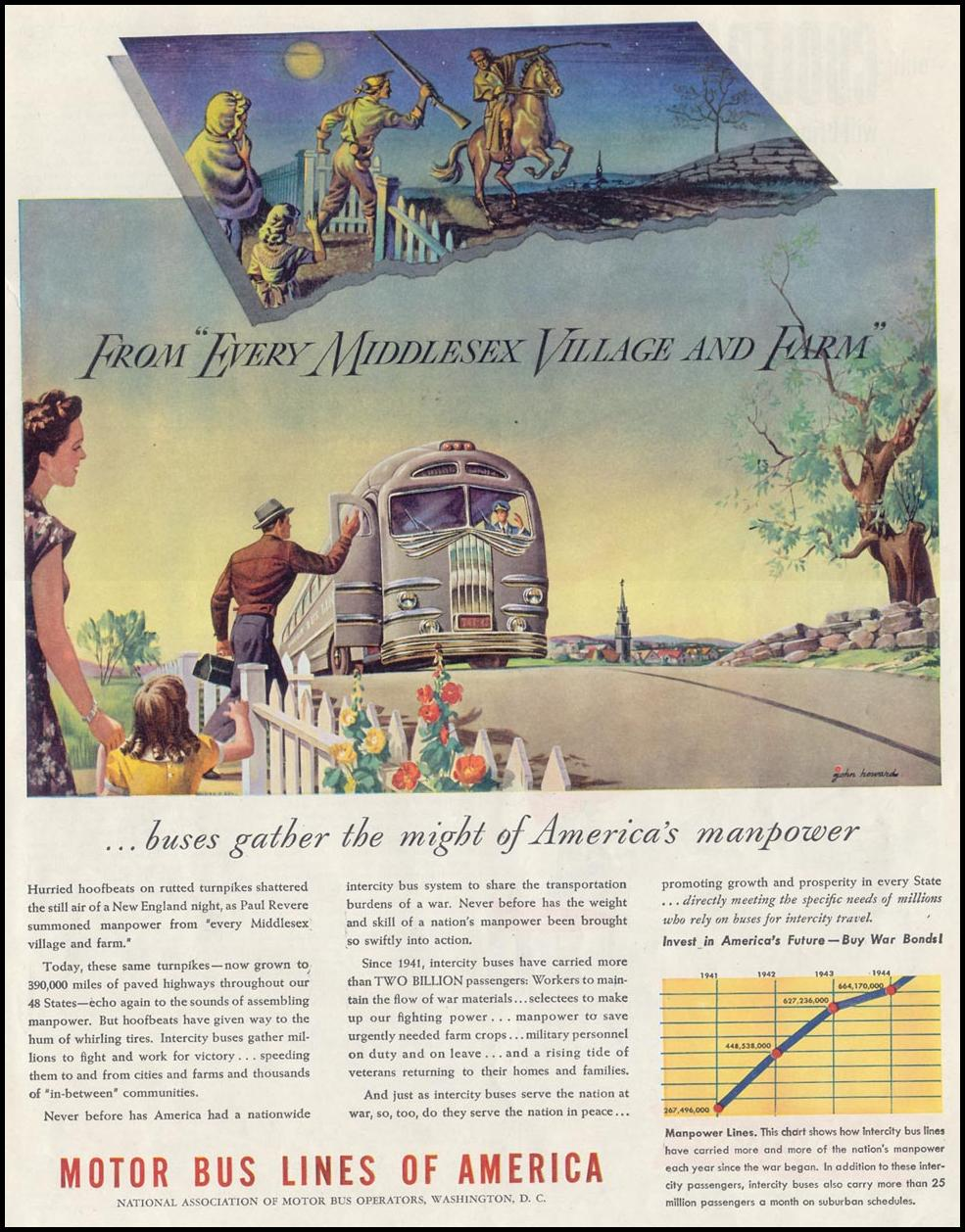 MOTOR BUS LINES OF AMERICA SATURDAY EVENING POST 05/19/1945 p. 99