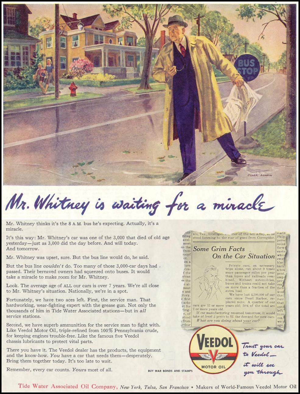 VEEDOL MOTOR OIL SATURDAY EVENING POST 05/19/1945 p. 105