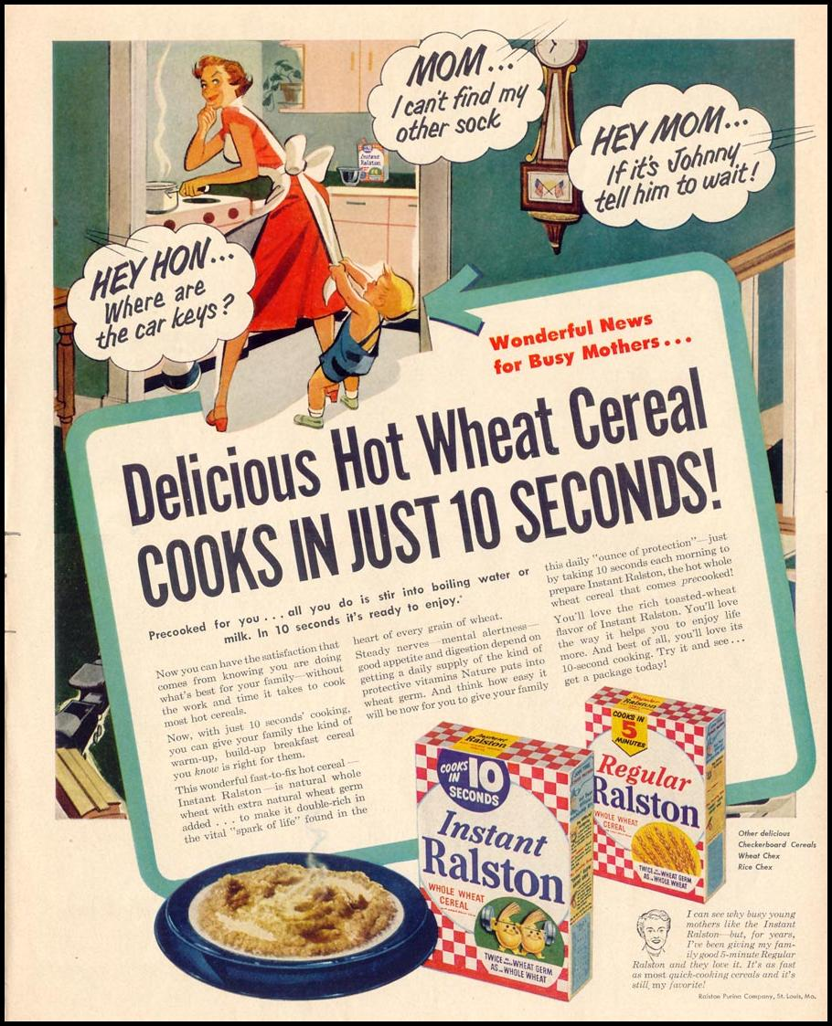 INSTANT RALSTON WHOLE WHEAT CEREAL LIFE 10/13/1952 p. 10