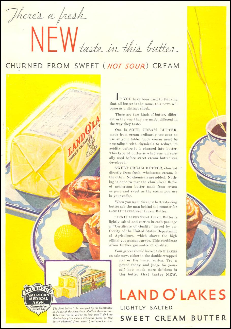 LAND O' LAKES LIGHTLY SALTED SWEET CREAM BUTTER GOOD HOUSEKEEPING 01/01/1932 p. 137