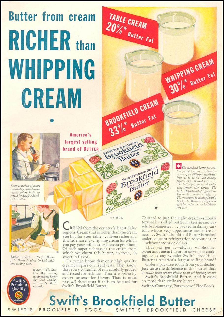 SWIFT'S BROOKFIELD BUTTER GOOD HOUSEKEEPING 01/01/1932 INSIDE BACK