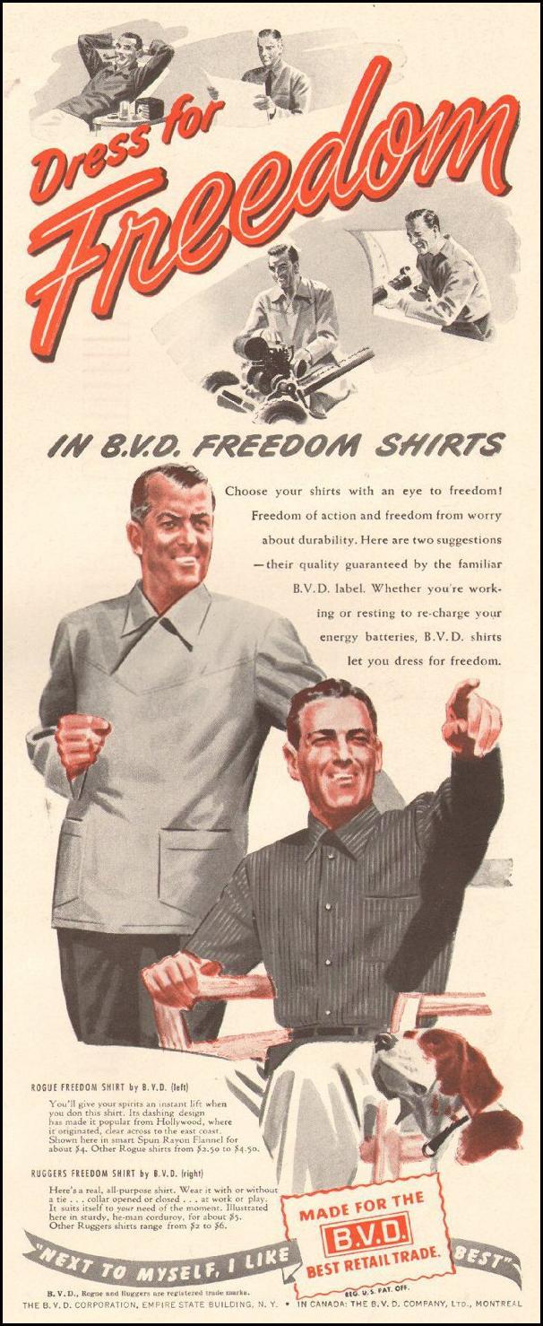 B. V. D. FREEDOM SHIRTS LIFE 10/25/1943 p. 131
