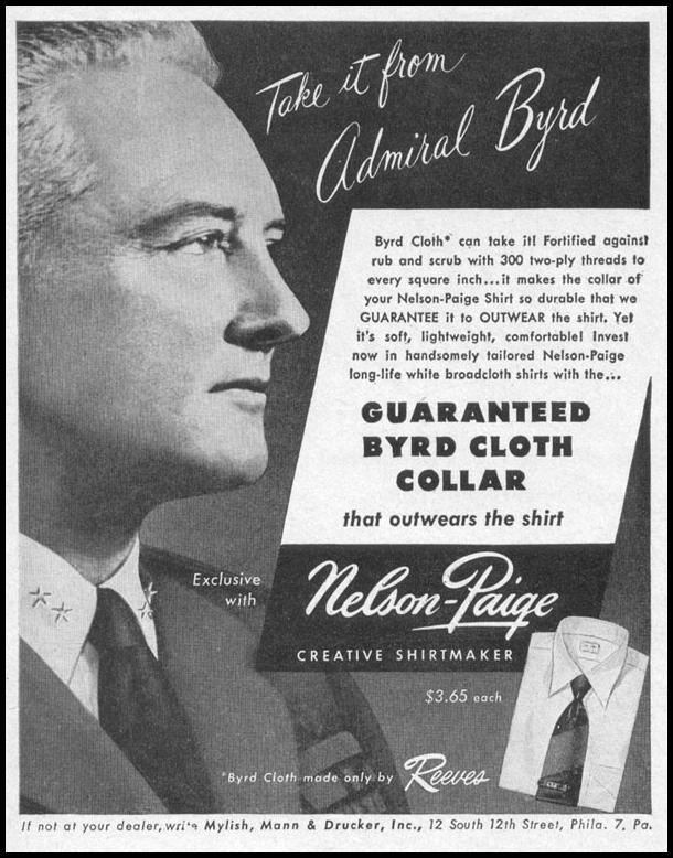 NELSON-PAIGE BYRD CLOTH SHIRTS LIFE 04/17/1950 p. 110