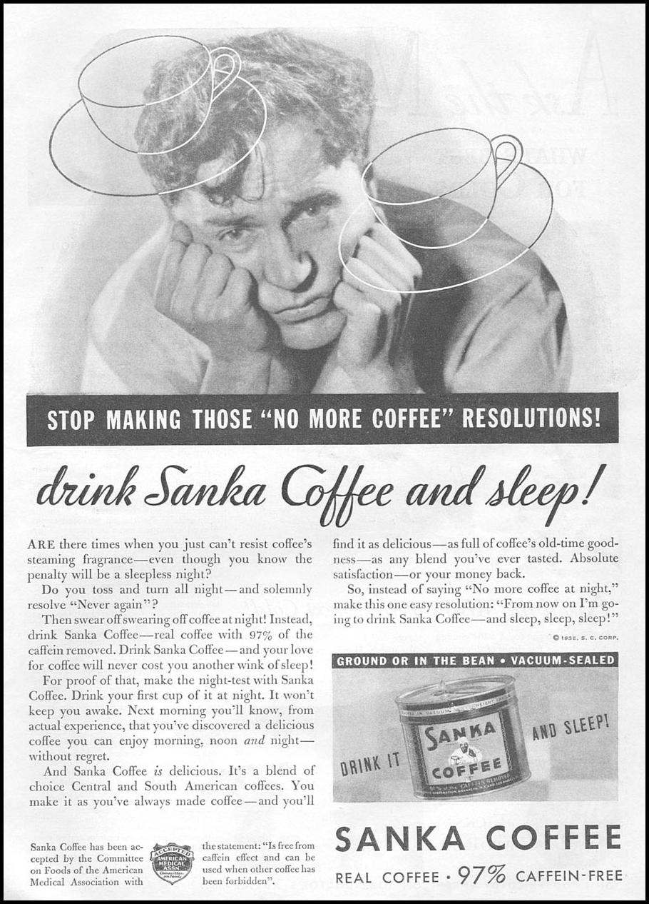 SANKA COFFEE GOOD HOUSEKEEPING 01/01/1932 p. 113