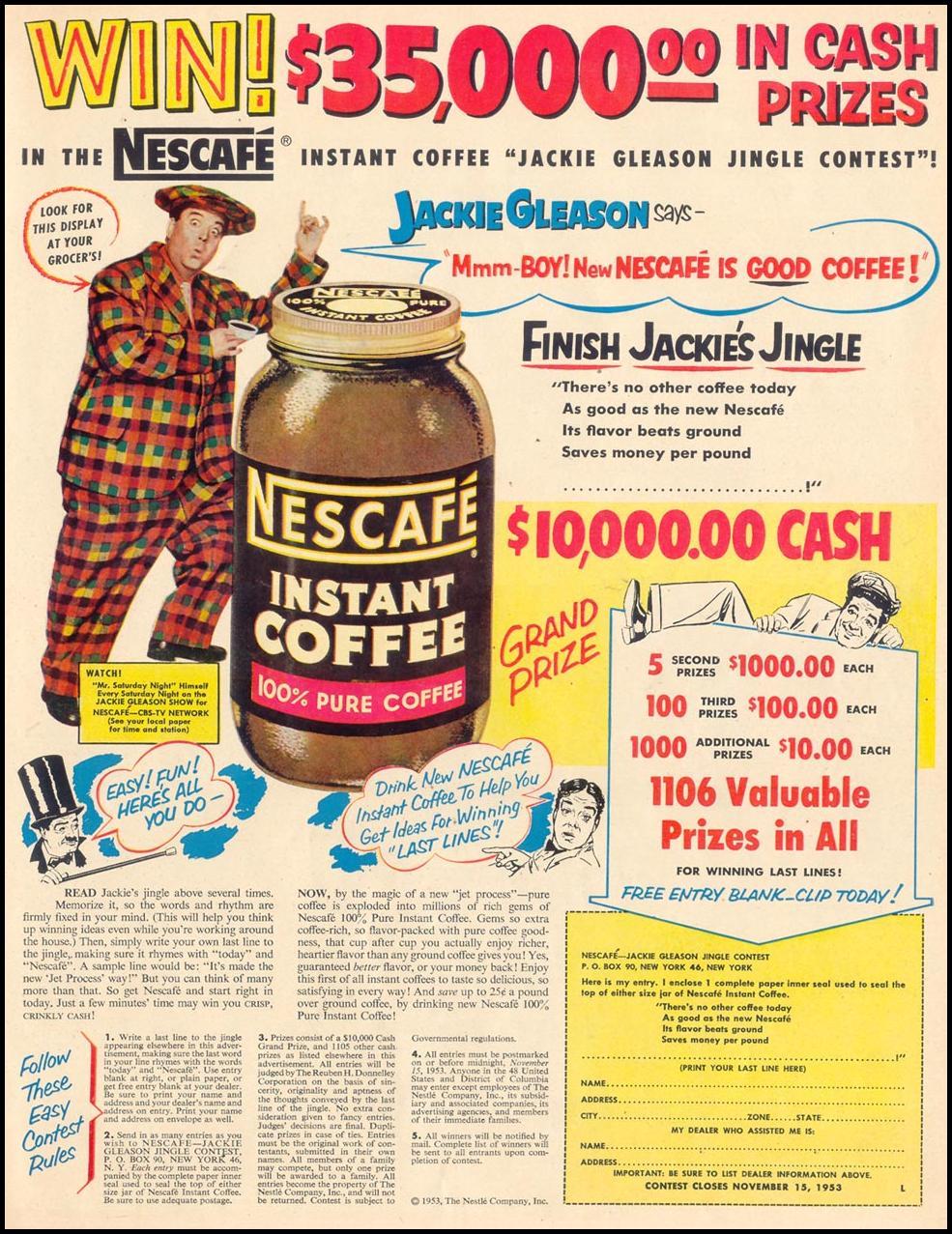 NESCAFE INSTANT COFFEE LIFE 10/19/1953 p. 83