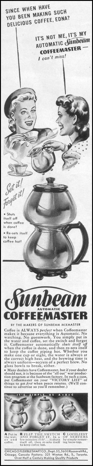 SUNBREAM AUTOMATIC COFFEEMASTER LIFE 11/02/1942 p. 106