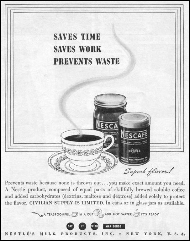 NESCAFE INSTANT COFFEE LIFE 11/02/1942 p. 84