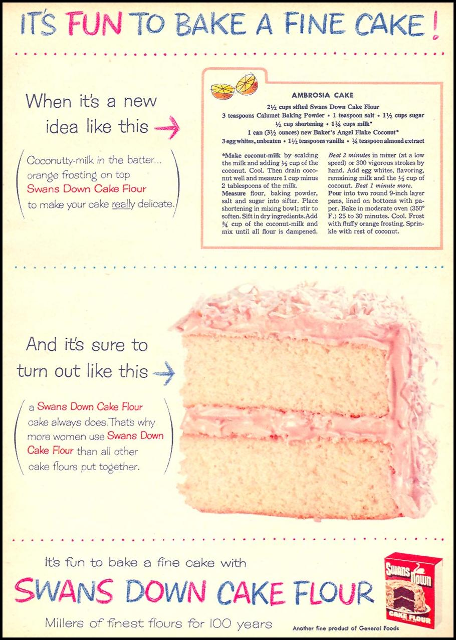 SWANS DOWN CAKE FLOUR FAMILY CIRCLE 02/01/1956 p. 63