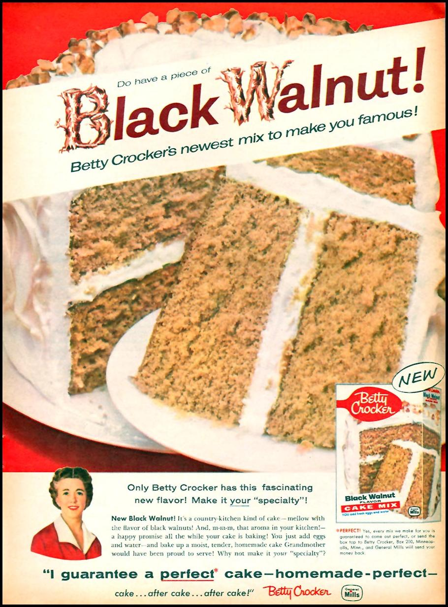 BETTY CROCKER BLACK WALNUT CAKE MIX FAMILY CIRCLE 02/01/1958 p. 19