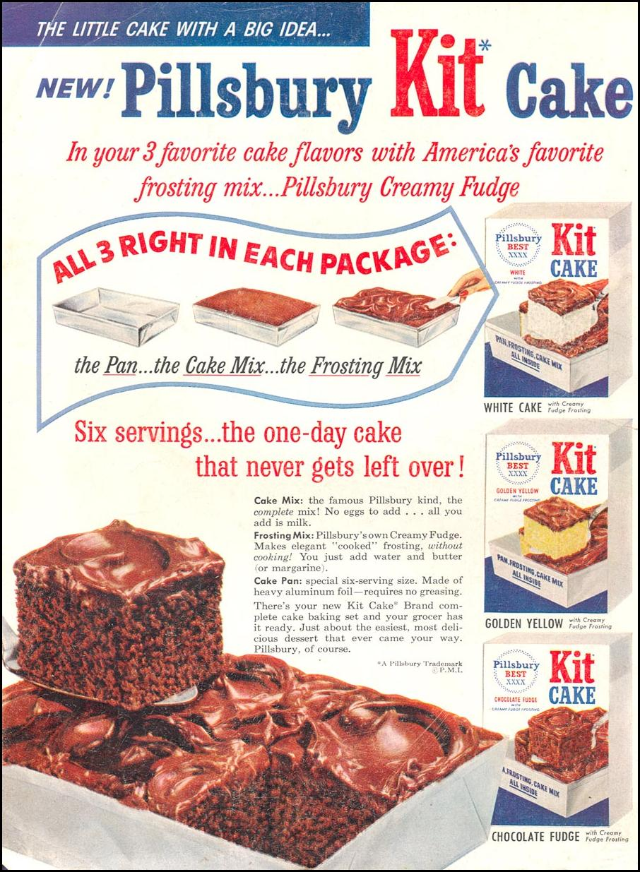 PILLSBURY KIT CAKE WOMAN'S DAY 04/01/1956 BACK COVER