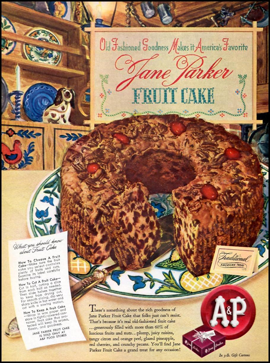JANE PARKER FRUIT CAKE WOMAN'S DAY 09/01/1945 p. 14