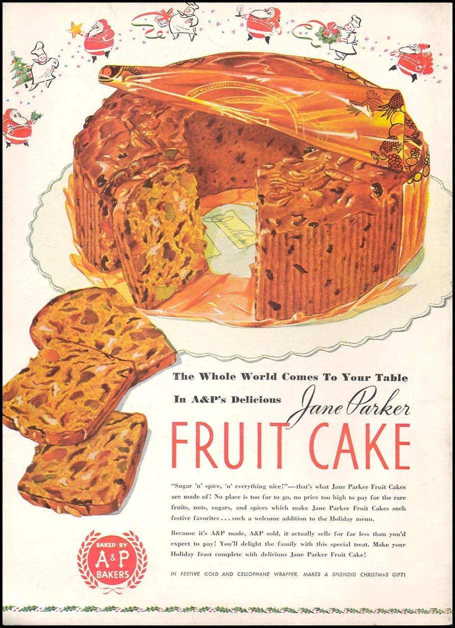 A & P JANE PARKER FRUIT CAKE WOMAN'S DAY 12/01/1939 BACK COVER