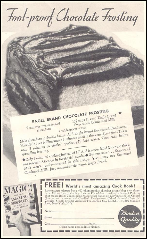 EAGLE BRAND SWEETENED CONDENSED MILK GOOD HOUSEKEEPING 03/01/1935 p. 201