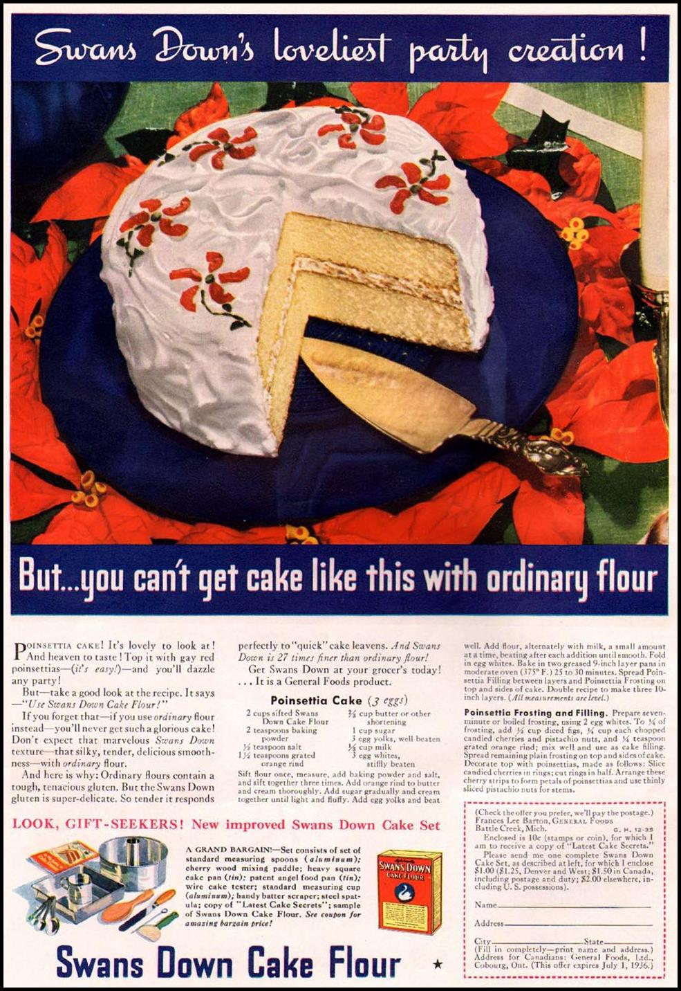 SWANS DOWN CAKE FLOUR GOOD HOUSEKEEPING 12/01/1935
