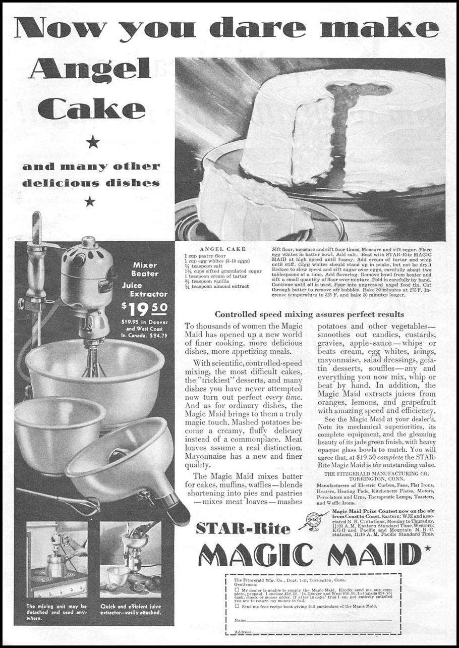 STAR-RITE MAGIC MAID MIXER GOOD HOUSEKEEPING 01/01/1932 p. 123