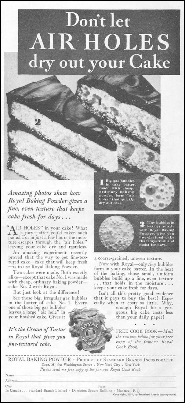 ROYAL BAKING POWDER GOOD HOUSEKEEPING 01/01/1932 p. 145