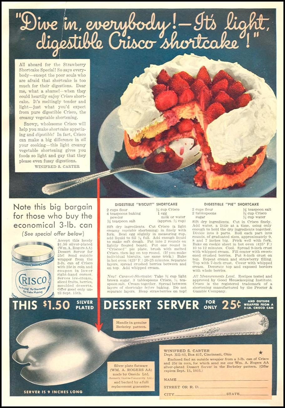 CRISCO VEGETABLE SHORTENING GOOD HOUSEKEEPING 06/01/1935 p. 113